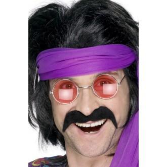 Hippie - Knír 70. léta černý