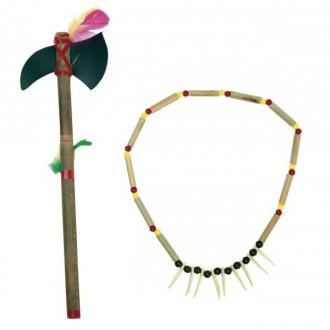 Indiáni - Indiánský náhrdelník a tomahawk nebo oštěp
