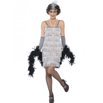 Kostýmy - Kostým Flapper krátké, stříbrné