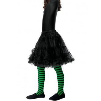 Klauni - Dětské punčocháče pruhované zelená a černá