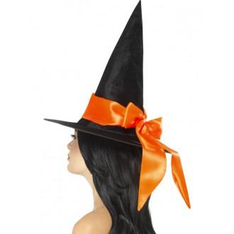 Čarodějnice - Klobouk Čarodějnice oranžová mašle