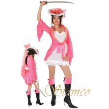 Dámský kostým růžová Pirátka