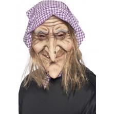 Maska Ježibaba s vlasy a šátkem