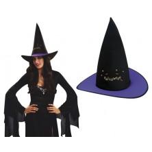 Klobouk Čarodějnice černo-fialový