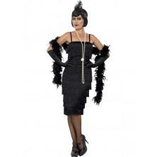Kostým Flapper dlouhé šaty černé