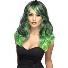 Paruka Čarodějnice zeleno-čená