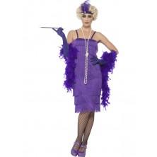 Kostým Flapper dlouhé, purpurové