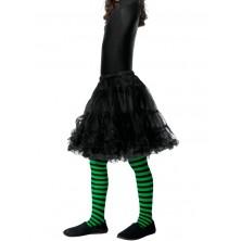 Dětské punčocháče pruhované zelená a černá