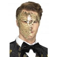 Škraboška Fantom zlatá kovová