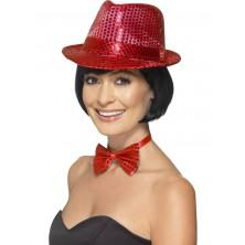Flitrový klobouk červený I